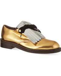 Marni On The Fringe Leather Derby Shoes - Lyst
