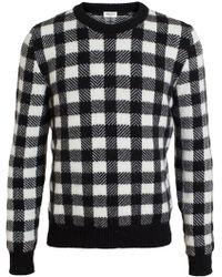 Saint Laurent Wool Blend Check Jumper - Lyst
