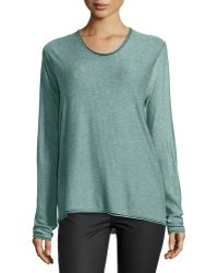 T By Alexander Wang Rolled-Trim Long-Sleeve Sweater - Lyst