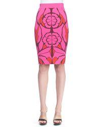 Alexander McQueen Flower Jacquard Pencil Skirt - Lyst