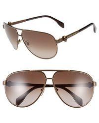 Alexander McQueen 65Mm Skull Temple Metal Aviator Sunglasses - Bronze/ Brown Gradient - Lyst