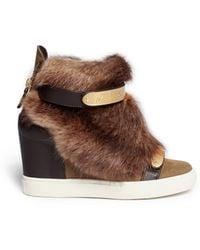 Giuseppe Zanotti 'Lorenz' Fur Suede Wedge Sneakers - Lyst