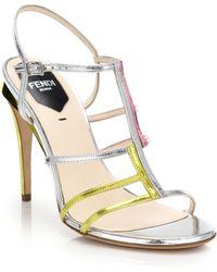 Fendi Frankie Asymmetrical Colorblock Metallic Leather Sandals - Lyst
