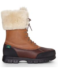 Lauren by Ralph Lauren Tan Quinta Real Fur Cuff Boots - Lyst