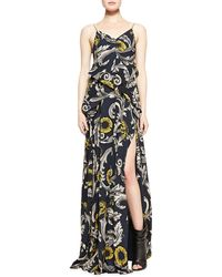 Burberry Prorsum Scroll and Floral Printed Evening Gown - Lyst