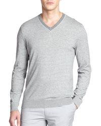 Hugo Boss Tucci Stripe V-Neck Sweater - Lyst