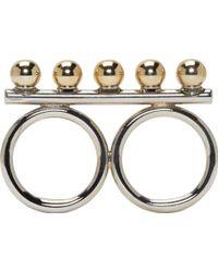 Caterina Zangrando - Silver Brass Studded Athena Two_finger Ring - Lyst