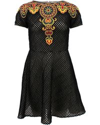 Valentino Black Embroidered Dress - Lyst