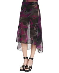 Jean Paul Gaultier Sheer Camouflage Side-slit Coverup Skirt - Lyst