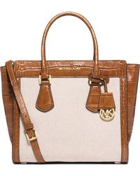 MICHAEL Michael Kors Colette Large Mixed-Media Satchel brown - Lyst