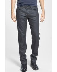 John Varvatos 'Bowery' Slim Straight Leg Coated Jeans - Lyst