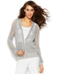 Michael Kors Michael Metallic Mesh Zip-Front Hooded Sweater - Lyst