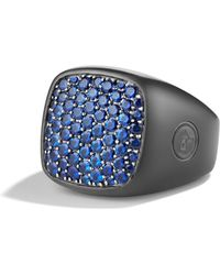 David Yurman Pave Signet Ring with Sapphires - Lyst