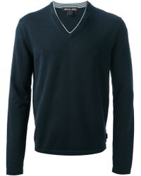 Michael Kors Blue Vneck Sweater - Lyst