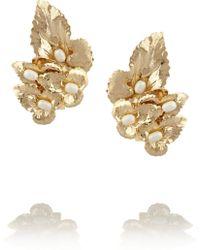 Rosantica Daisy Gold-dipped Pearl Clip Earrings - Lyst