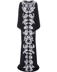 Oscar de la Renta Embroidered Silk Dress - Lyst