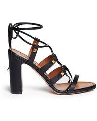Valentino 'Rockstud' Leather Strappy Sandals black - Lyst