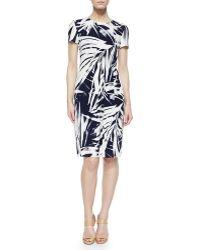 Lafayette 148 New York Asymmetric-Pleated Brushstroke Dress - Lyst