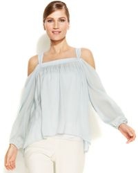 Vince Camuto Cold-Shoulder Peasant Top - Lyst