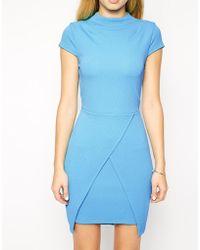 Asos Textured High Neck Assymetric Mini Dress - Lyst