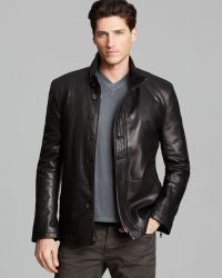 John Varvatos Collection Double Zip Leather Jacket - Lyst