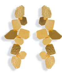 Herve Van Der Straeten Hammered Gold-Plated Ciselle Clip Earrings - Lyst