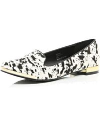 River Island Black Pony Leather Print Slip-ons - Lyst