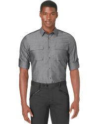 Calvin Klein Slim Fit Chambray Roll Sleeve Sport Shirt - Lyst