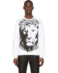 Versus  Black and White Lion Print Sweatshirt - Lyst