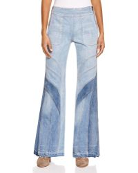 Free People | Tidal Wave Novelty Flare Jeans In Pale Blue Multi | Lyst