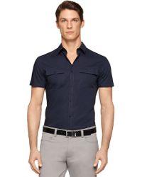 Calvin Klein Blue Stretch-Cotton Sportshirt - Lyst