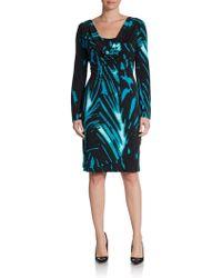 Josie Natori Draped Abstract Print Knit Dress - Lyst