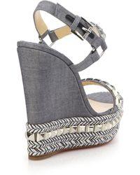 Christian Louboutin | Cataclou Studded Denim Espadrille Wedge Sandals | Lyst