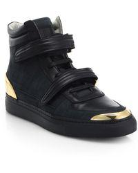 Louis Leeman Croc-Embossed Nubuck High-Top Sneakers - Lyst