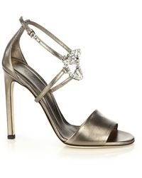 Gucci Gg Sparkling Crystal-Detail Silk Sandals - Lyst