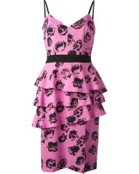 Emanuel Ungaro Rose Print Peplum Dress - Lyst