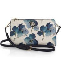 Tory Burch Kerrington Floral Coated-canvas Crossbody Wallet - Lyst