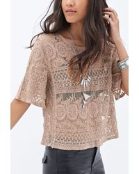 Forever 21 Embroidered Foliage Top - Lyst