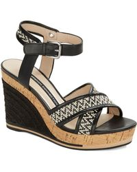 French Connection - Lata Leather Platform Wedge Sandals - Lyst