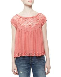 Free People Off-The-Shoulder Top With Cutwork Embroidery - Lyst