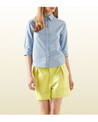 Gucci Dusty Blue Cotton Poplin Shirt - Lyst