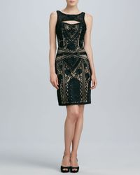Sue Wong Beaded Keyhole Cocktail Dress - Lyst
