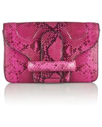 Vanessa Bruno Catherine Snake-effect Leather Clutch - Lyst