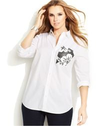 Michael Kors Michael Plus Size Tab-Sleeve Printed-Pocket Shirt - Lyst