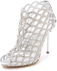 Sergio Rossi Mermaid Cage Booties - Silver - Lyst