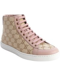 Gucci Sand And Pink Gg Printed Canvas Hi Top Sneakers - Lyst