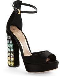 Sebastian Hologram-Heeled Peep-Toe Platform Sandals - Lyst
