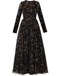 Dolce & Gabbana Key-print Chiffon Dress - Lyst
