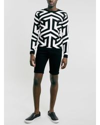Topman Black Geometric Pattern Jumper - Lyst