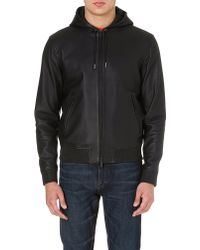 DSquared2 Hooded Leather Jacket Black - Lyst